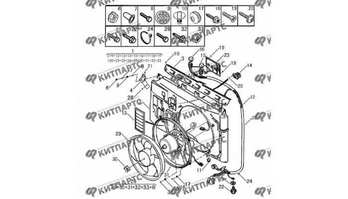 Вентилятор охлаждения Dong Feng S30