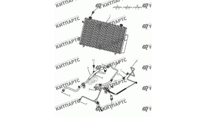 Радиатор кондиционера Geely Emgrand (EC7)